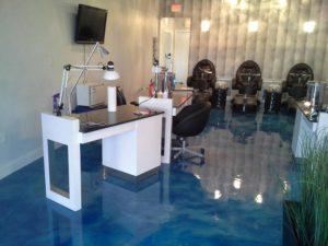 blue reflector epoxy floor