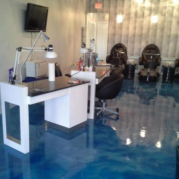 blue reflector epoxy floor