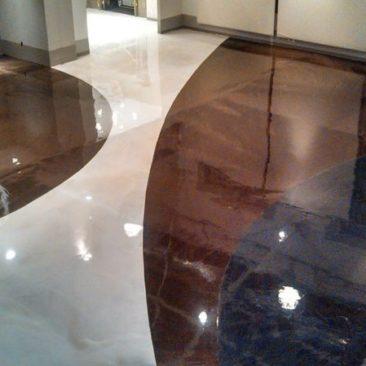 Decorative epoxy floor with custom design