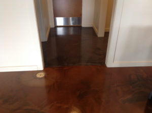 Metallic epoxy hall flooring