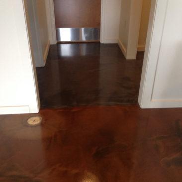 Metallic epoxy hall flooring